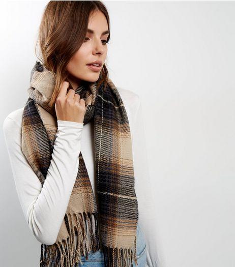 Light Brown Check Scarf | New Look