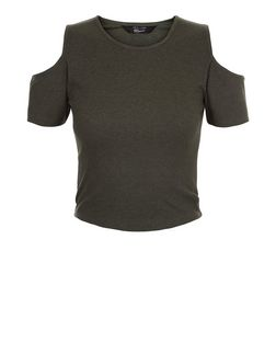 Teens Khaki Ribbed Cold Shoulder T-Shirt  | New Look