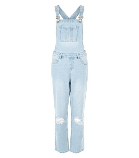 Light Blue Ripped Knee Denim Dungarees  | New Look