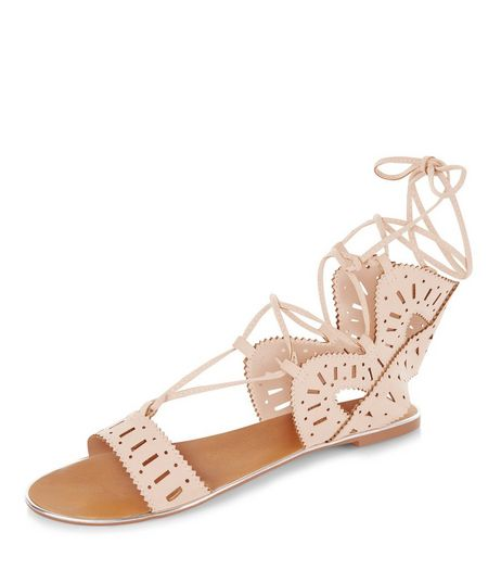 Pink Suedette Laser Cut Out Ghille Sandals  | New Look