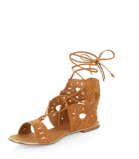 Tan Suedette Laser Cut Out Ghille Sandals  | New Look