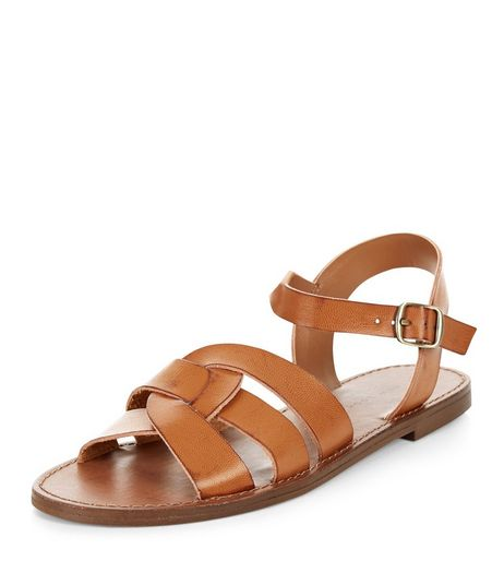 Tan Leather-Look Woven Strap Sandals | New Look