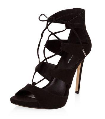 Sandalo  donna Black Suedette Ghillie Heeled Sandals