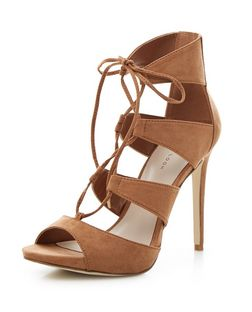 Tan Suedette Ghillie Heeled Sandals  | New Look