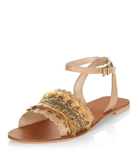Stone Leather Woven Tassel Sandals  | New Look