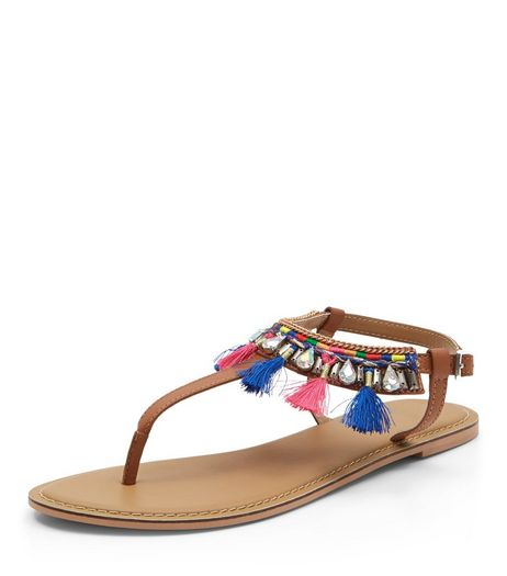 Tan Leather Tassel Trim Sandals  | New Look