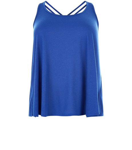 Curves Blue Strappy Vest | New Look