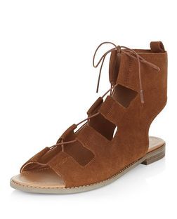 Tan Leather Ghillie Sandals | New Look