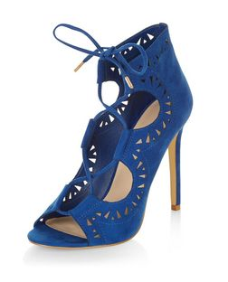 Blue Suedette Laser Cut Out Ghillie Heels  | New Look