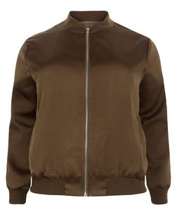 Plus Size Khaki Sateen Bomber Jacket | New Look