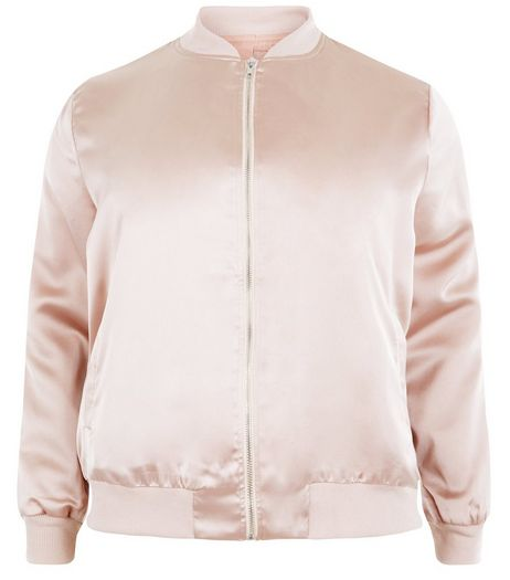 Curves Shell Pink Sateen Bomber Jacket  | New Look