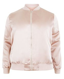 Plus Size Shell Pink Sateen Bomber Jacket  | New Look