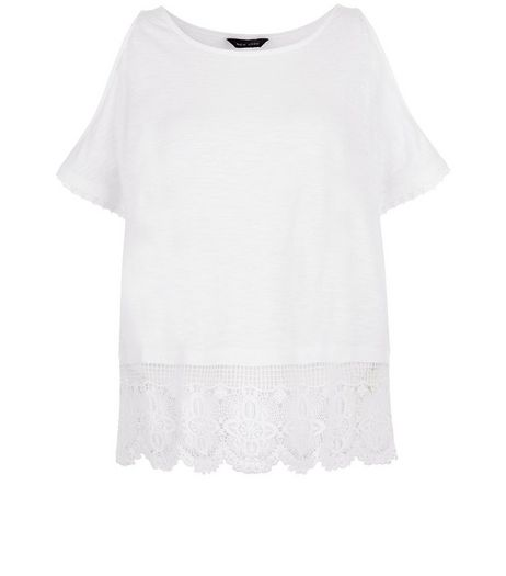 White Lace Trim Cold Shoulder Top  | New Look