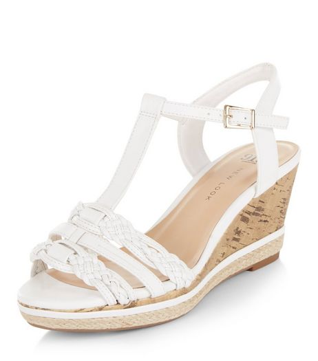 Teens White Plait Strap Wedges | New Look