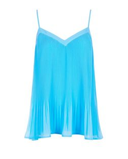 Blue Pleated Chiffon Cami | New Look
