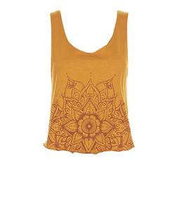 Tan Lotus Print Tie Back Vest  | New Look