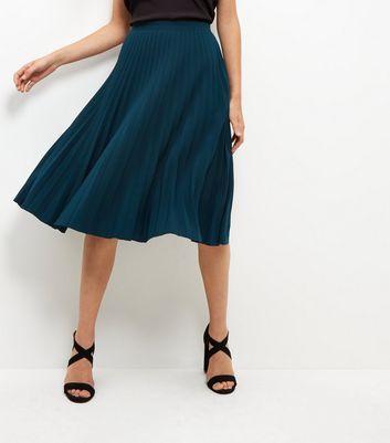 Gonna  donna Green Pleated Midi Skirt