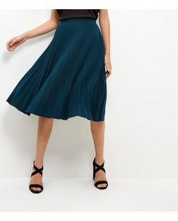 Green Pleated Midi Skirt | New Look