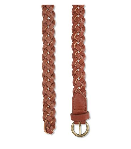 Tan Leather-Look Skinny Woven Belt | New Look