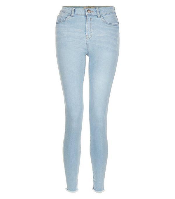 Light Blue Fray Hem Skinny Jeans