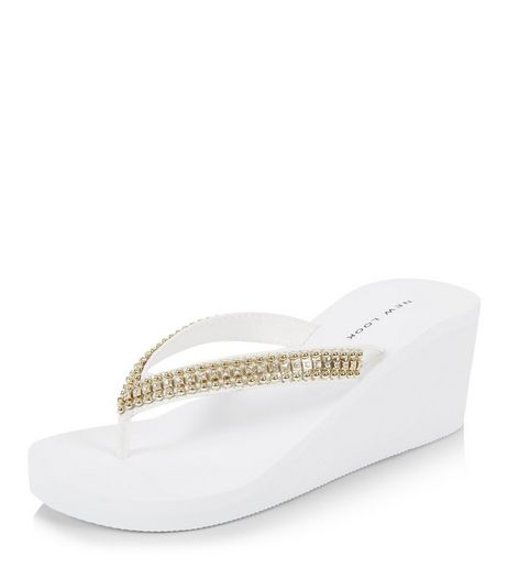 White Diamante Wedge Flip Flops  | New Look