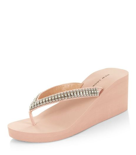 Cream Diamante Wedge Flip Flops  | New Look