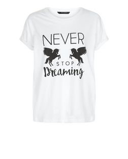 Teens White Never Stop Dreaming Unicorn Print T-Shirt | New Look