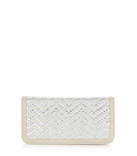 Cream Metallic Woven Zip Around Purse | New Look