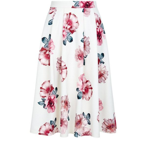 White Ribbed Floral Print Midi Skater Skirt