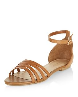 Wide Fit Tan Leather Strappy Sandals  | New Look