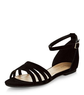 Sandalo  donna Wide Fit Black Suede Strappy Sandals