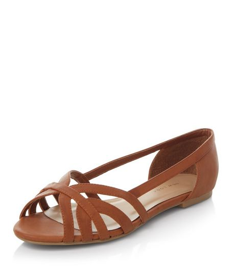 Wide Fit Tan Strappy Pumps  | New Look