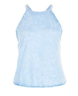 Blue Lace Trim Halter Neck Top | New Look