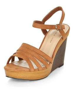 Wide Fit Tan Suedette Contrast Wooden Wedges  | New Look
