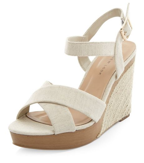 Wide Fit Cream Canvas Cross Strap Wedge Sandals  | New Look
