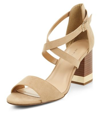 Sandalo  donna Wide Fit Stone Metal Trim Cross Strap Heels