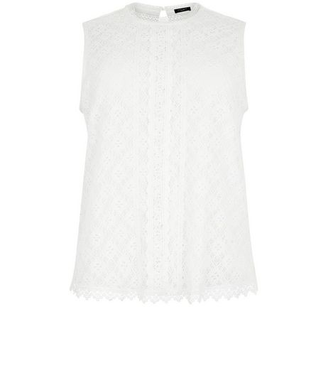 Curves White Tile Print Lace Shell Top | New Look