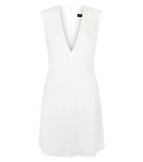 White Deep V Neck Sleeveless Shift Dress  | New Look