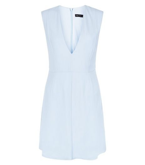 Light Blue Deep V Neck Sleeveless Shift Dress | New Look