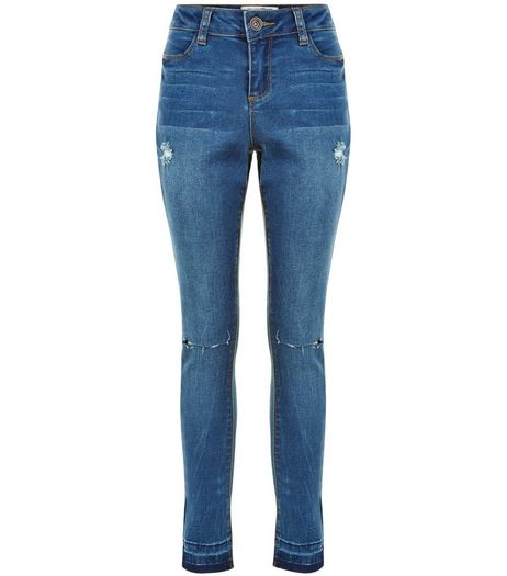 Teens Blue Ripped Knee Drop Hem Skinny Jeans | New Look