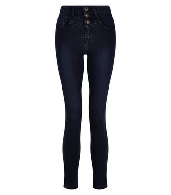 Teens Navy High Waisted Skinny Jeans