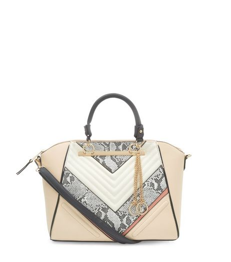 Cream Snakeskin Print Panel Quilted Tote Bag  | New Look