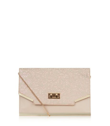 Cream Lace Panel Metal Trim Clutch  | New Look