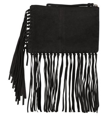 black-suede-fringe-trim-clutch
