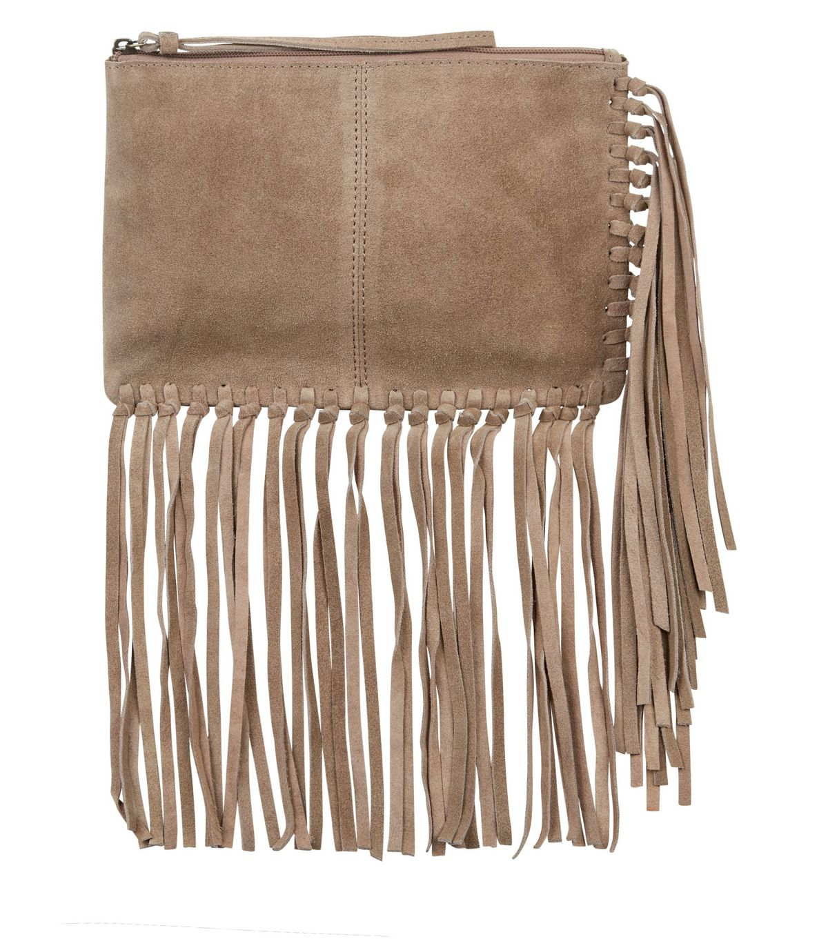 Stone Suede Fringe Trim Clutch  | New Look