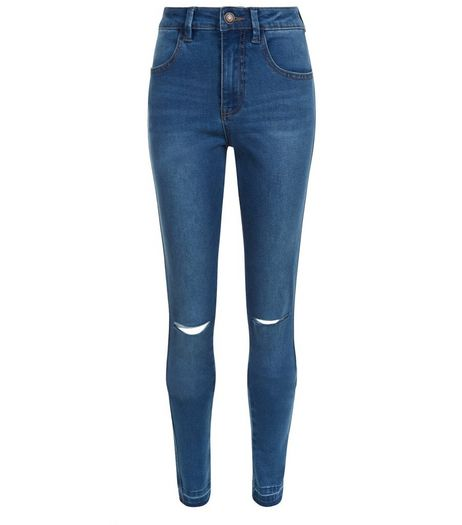 Teens Blue Washed Ripped Knee Raw Hem Skinny Jeans | New Look