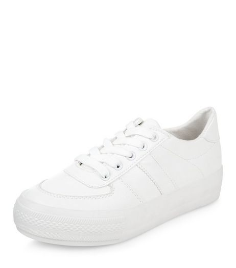 Wide Fit White Flatform Trainers  | New Look