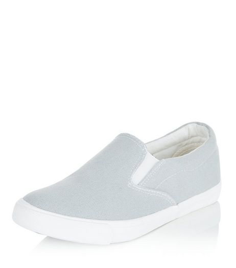 Wide Fit Grey Canvas Slip On Plimsolls  | New Look
