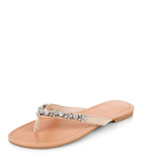 Wide Fit Nude Floral Embellished Sandals  | New Look