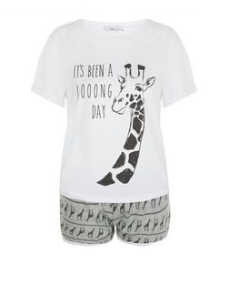 Teens Grey Giraffe Print Pyjama Set | New Look